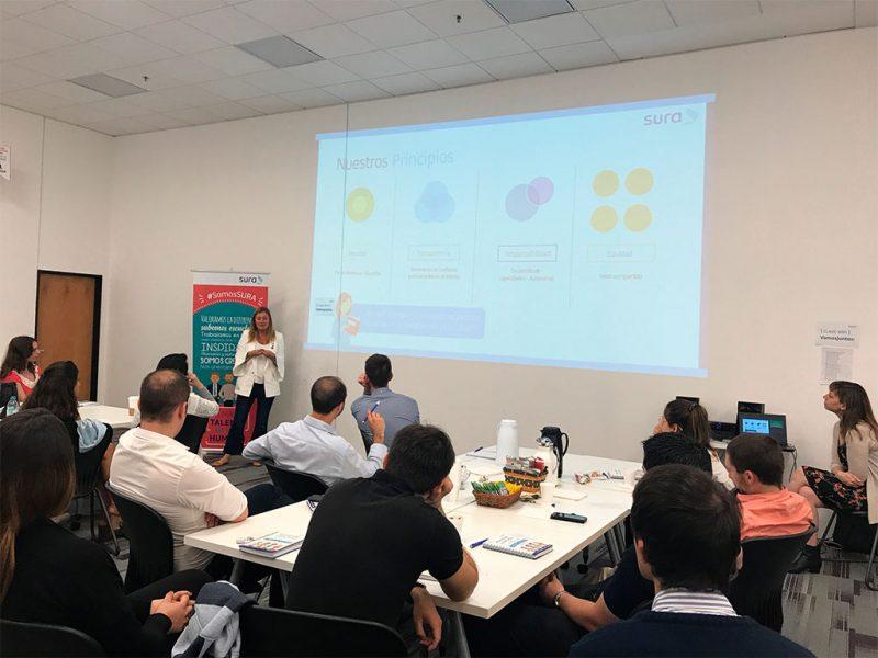 Imagen de colaboradores de SURA durante un taller.